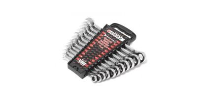 Набор ключей комбинированных трещоточных с реверсом 11пр. (8,10,11,12,13,14,15,16,17,18,19мм)в пластиковом держателе Forsage F-51112R