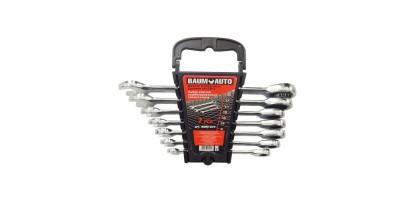 Набор ключей комбинированных трещоточных 7пр. (8,10,12-14,17,19мм) в пласт. держателе BaumAuto BM61072