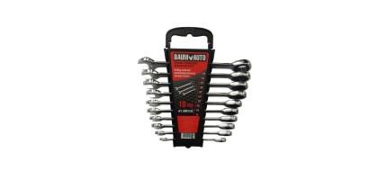 Набор ключей комбинированных трещоточных 10пр. (8,10,12-19мм) в пласт. держателе BaumAuto BM61102