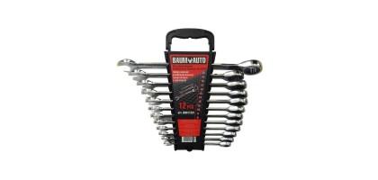 Набор ключей комбинированных трещоточных 12пр. (8-10,12-19,22мм) в пласт. держателе BaumAuto BM61122