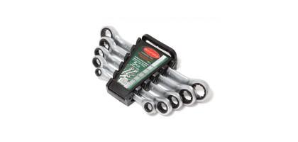 Набор ключей накидных трещоточных, 5пр. (8х10, 12х13, 14х15, 16х17, 18х19мм), в пластиковом держателе Rock FORCE RF-5105M