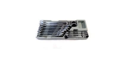 Набор ключей комбинированных трещоточных с шарниром, 13 предметов,в лотке